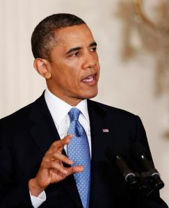 U.S. President Barack Obama speaks during a news conference at the White House in Washington