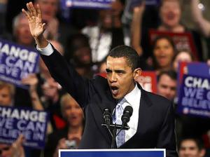 Democratic presidential candidate Obama speaks to supporters at his New Hampshire primary night rally in Nashua