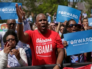 Supporters cheer as U.S. President Obama speaks during a campaign event in Columbus, Ohio